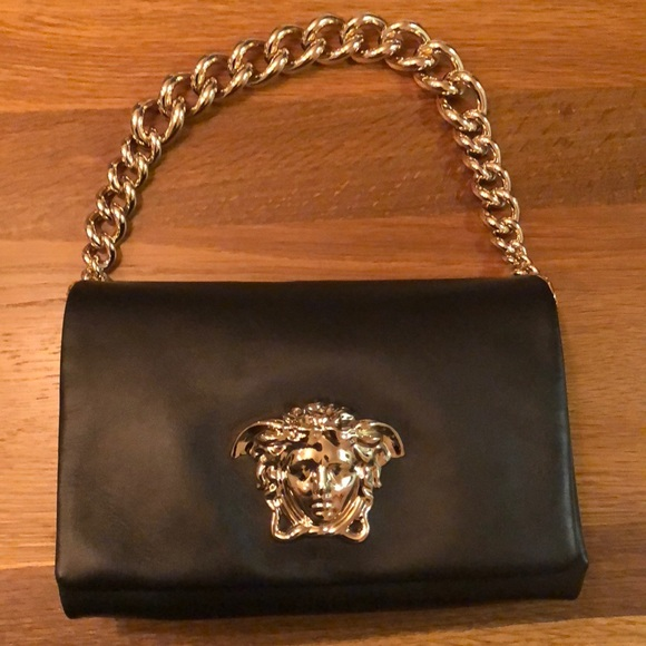 1aac953120 VERSACE Black Palazzo Bag w  Gold Medusa   Chain